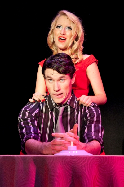 "Jane Kivnick (Lola) and Jarrad Green (Joe Hardy) in ""Two Lost Souls"""