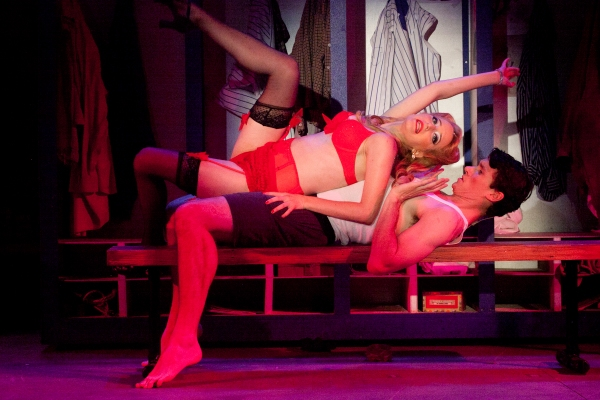 Jane Kivnick (Lola) seduces Jarrad Green (Joe Hardy)  Photo