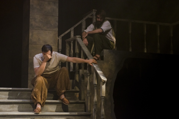 Reed Campbell as Judas Iscariot and Aaron Seeburger as Jesus of Nazareth in The Last Days of Judas Iscariot.