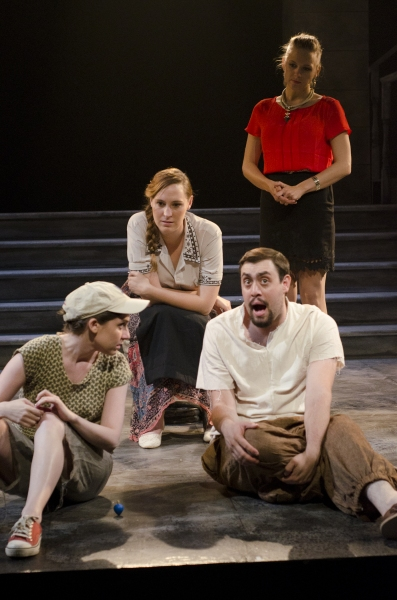 "Front �"" Joseph Walker as Pontius Pilate and Reed Campbell as Judas Iscariot, Back (left to right) �"" Britney Coleman, Nico Ager and Ali Gordon as soldiers"