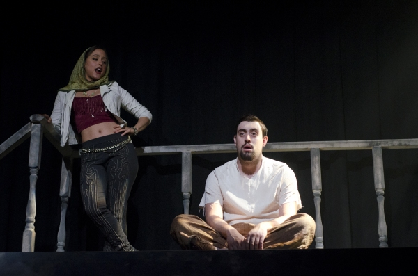 Lauren Lopez as Saint Monica and Reed Campbell as Judas Iscariot in The Last Days of Judas Iscariot.