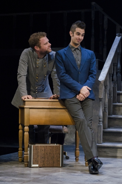 Dylan Saunders as the Judge and Joey Richter as Satan in The Last Days of Judas Iscariot.