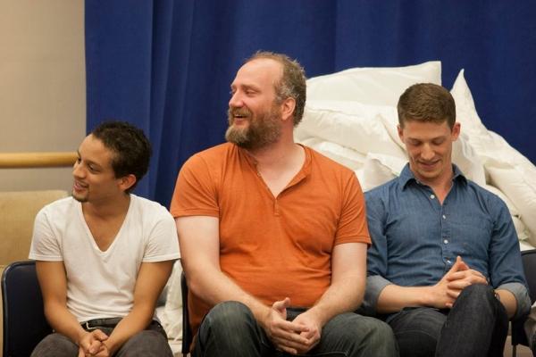 Zachary Infante (Francis Flute), Brendan Averett (Snug) and Zach Appelman (Demetrius)