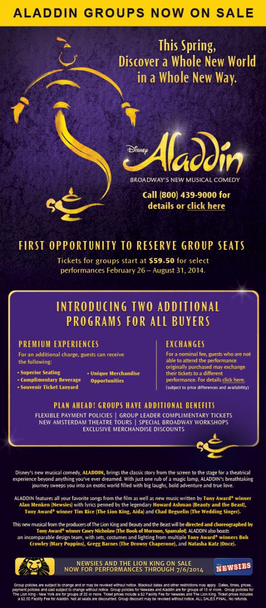 Exclusive Scoop! Disney's ALADDIN Set To Begin Broadway Previews 2/26; New Artwork & Opening Info