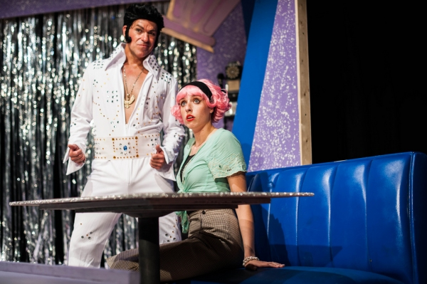 Kirk Kelso (L) and Vanessa Marie (R) in GREASE.  Photo by Aleks Ortynski.