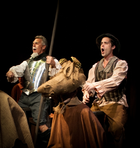 Rick Roemer (L) as Don Quixote and Jacob Trussell (R) as Sancho Panza in Austin Playhouse's THE MAN OF LA MANCHA.  Photo by Christopher Loveless.