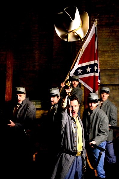 (Foreground) Niall McGinty as Brigadier General Lewis A. Armistead and (background, L to R) Sean Sinitski, Chris Hainsworth, Michael McKeogh, Joe Flynn, and Zach Livingston as Confederate soldiers