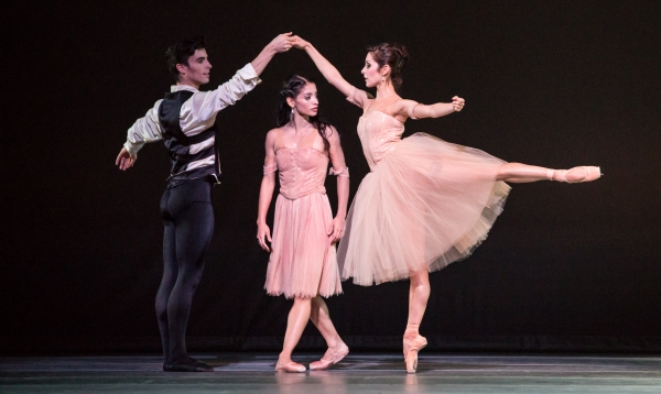 Ballet: PASSION. Choreographer: James Kudelka. Dancer(s): Karina Gonzalez, Joseph Walsh and Lauren Strongin.