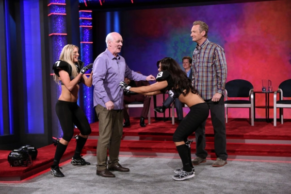 Whose Line is it Anyway -- ''Legends Football League� - Image WL103B_0131 -- Pictured (L-R): Chloe Butler, Colin Mochrie, Monique Gaxiola  and Ryan Stiles -- Photo: Patrick Wymore /The CW -- © 2013 The CW Network, LLC. All Rights Re