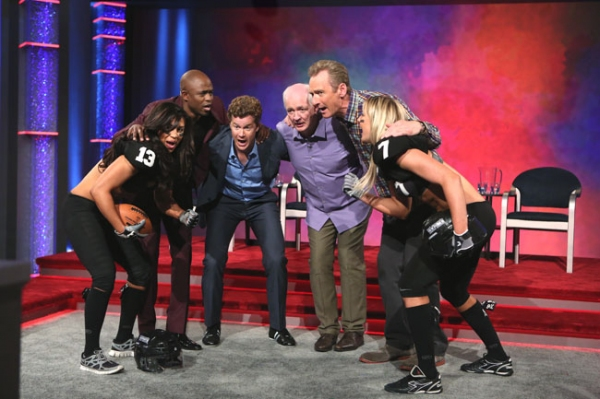 Whose Line is it Anyway -- â��Legends Football Leagueâ�� - Image WL103B_0173 -- Pictured (L-R): Monique Gaxiola, Wayne Brady, Jonathan Mangum, Colin Mochrie, Ryan Stiles and  Chloe Butler -- Photo: Patrick Wymore /The CW -- Â