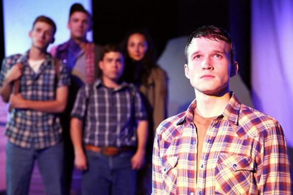 Back: Daniel David Stewart, Joe Donohoe, Adam Dingeman and Lauren Patten; Front: Aaron Scheff