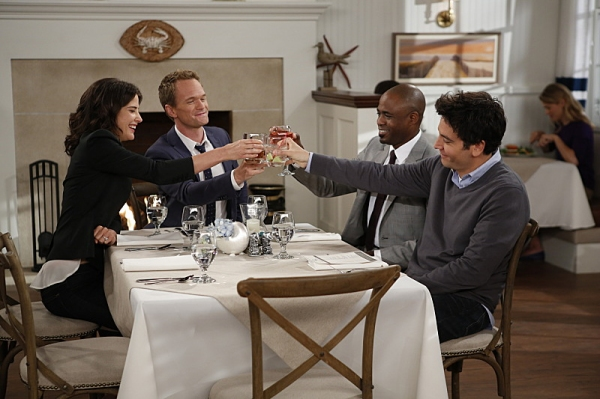 ''Coming Back'' -- The wedding weekend is here! Robin (Cobie Smulders),Barney (Neil Patrick Harris), James (Wayne Brady) and Ted (Josh Radnor) share a toast before the chaos begins. The ninth season of HOW I MET YOUR MOTHER premieres with a special one-ho