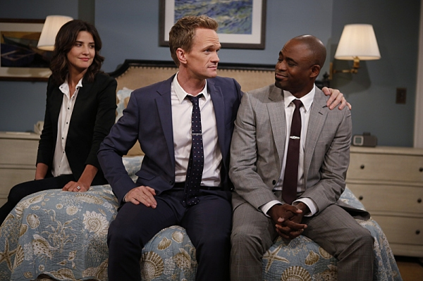 ''Coming Back'' -- The wedding weekend is here! Robin (Cobie Smulders) and Barney (Neil Patrick Harris) share a  moment with James (Wayne Brady) before the chaos begins. The ninth season of HOW I MET YOUR MOTHER premieres with a special one-hour episode,