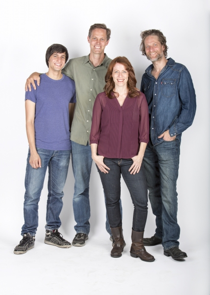 Director Davis McCallum (second from left) with the cast of The Few: (from left) Gideon Glick, Eva Kaminsky and Michael Laurence