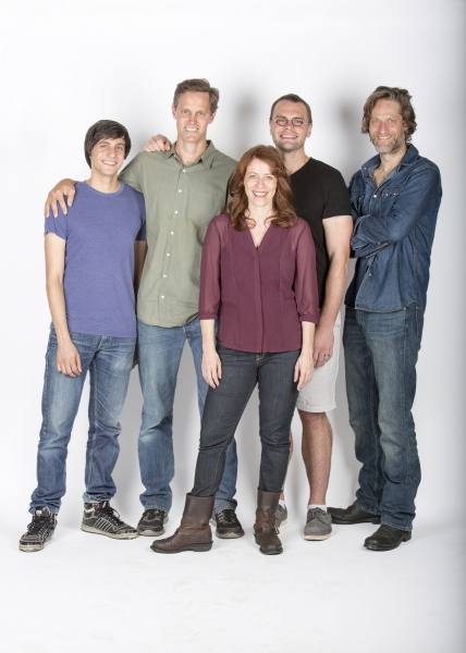 Director Davis McCallum (second from left) and playwright Samuel D. Hunter (second from right) with the cast of The Few: (from left) Gideon Glick, Eva Kaminsky and Michael Laurence
