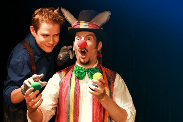 Puck (Jonathan Emerson) & Bottom (Blaine Smith) ''What hempen homespuns have we swagg Photo