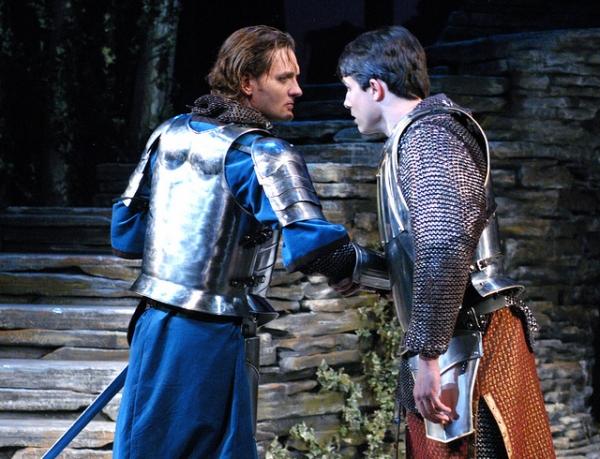 Glenn Seven Allen as Lancelot and David Bryant Johnson as Arthur