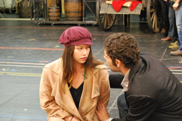 Melissa O'Neil and Perry Sherman in rehearsal for Les Miserables.