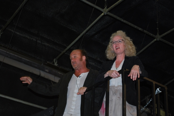 Lisa Horner and Cliff Saunders in rehearsal for Les Miserables.