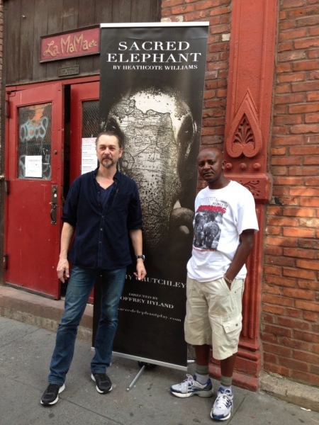 Jeremy Crutchley (L) and Jim Nyabu (R) in front of La MaMa E.T.C. on Sunday, September 15.