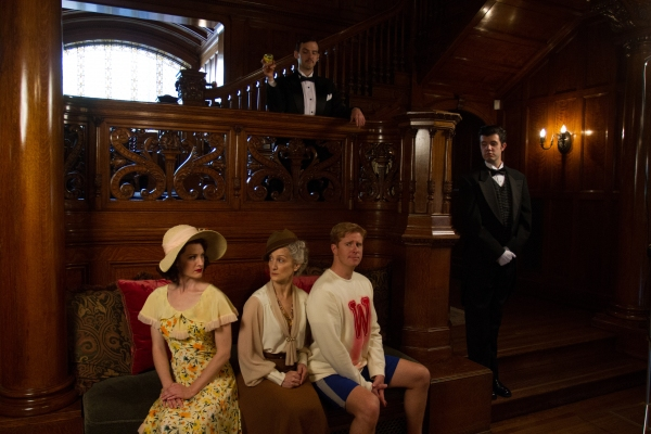 Joseph Medeiros (Nigel) and Jaron Barney (Clive). Seated: Tia Speros (Miss Tweed), Laura Hall (Hope) and Will Ray (Geoffrey).