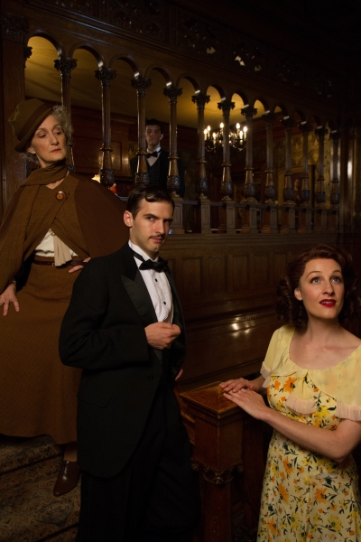Tia Speros (Miss Tweed), Jaron Barney (Clive), Joseph Medeiros (Nigel) and Laura Hall Photo