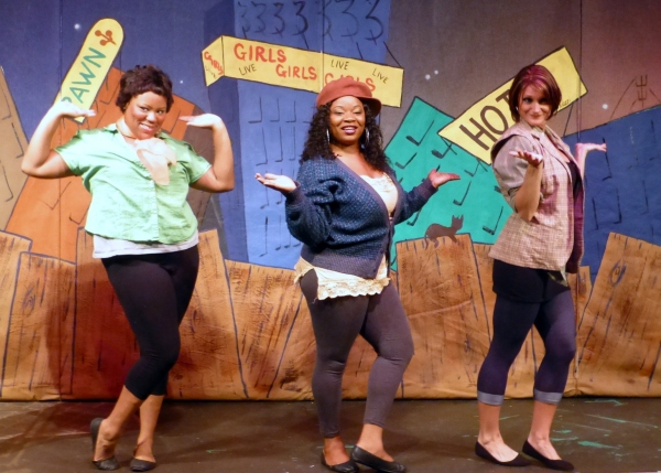 Chiffon, Ronnette and Crystal sing the story of LITTLE SHOP OF HORRORS. from left: Brittney S. Wheeler, Elizabeth Adabale, Amanda Majkrzak