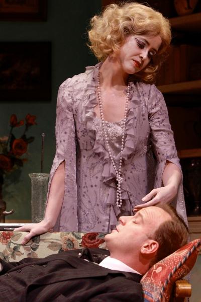 Gisela Chipe (as Elvira) and Jeremiah Wiggins (as Charles Condomine)