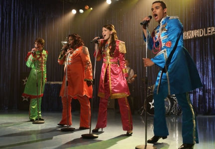 GLEE: L-R: Ryder (Blake Jenner), Unique (Alex Newell), Marley (Melissa Benoist) and Jake (Jacob Artist)