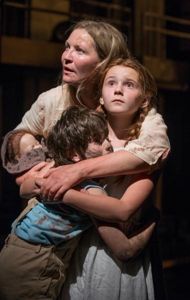 (clockwise from top) Beatriz (ensemble member Joan Allen), The Girl (Emma Gordon) and Photo