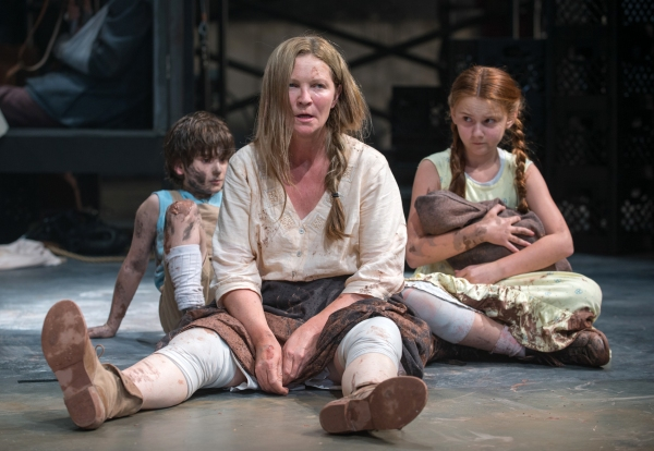 Beatriz (ensemble member Joan Allen, center) is exasperated by The Boy (Daniel Pass, left) and The Girl (Emma Gordon, right)
