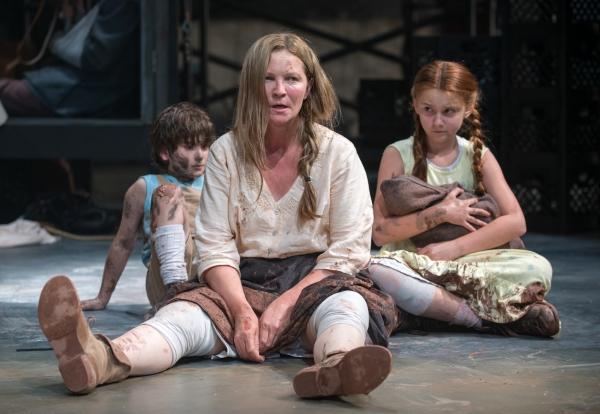 Beatriz (ensemble member Joan Allen, center) is exasperated by The Boy (Daniel Pass, left) and The Girl (Emma Gordon, right)