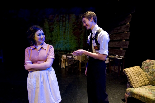 Hannah McEvilly as Bonnie Parker (L) and Kendrick Knight as Ted Hinton (R). Photo by John Gusky.