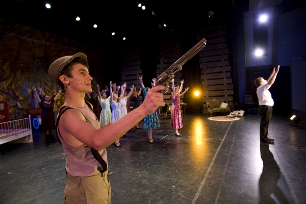 Jacob Roberts-Miller as Clyde Barrow (L) and the ensemble of BONNIE AND CLYDE. Photo by John Gusky.