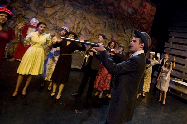 Jacob Roberts-Miller as Clyde Barrow and the ensemble of BONNIE & CLYDE. Photo by John Gusky.