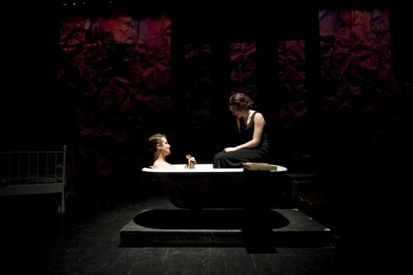 Jacob Roberts-Miller as Clyde Barrow (L) and Hannah McEvilly as Bonnie Parker (R). Photo by John Gusky.