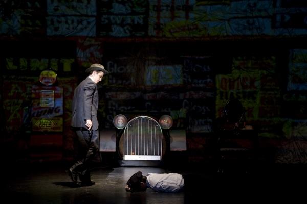 Jacob Roberts-Miller as Clyde Barrow (L). Photo by John Gusky.