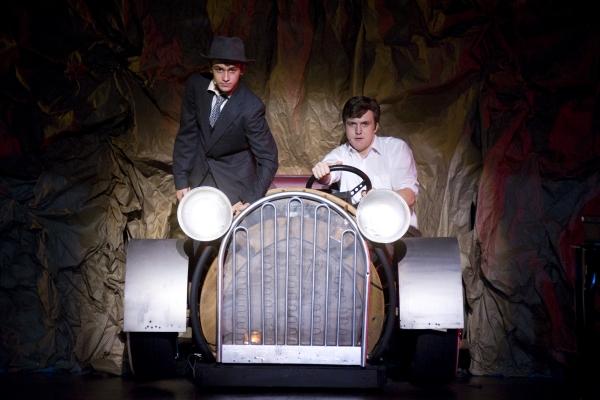 Jacob Roberts-Miller as Clyde Barrow (L) and Connor Barr as Buck Barrow (R). Photo by John Gusky.