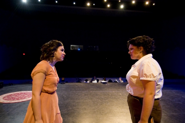 Hannah McEvilly as Bonnie Parker (L) and Sage Stoakley as Blanche Barrow (R). Photo by John Gusky.