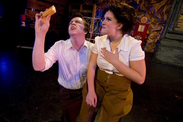 Connor Barr as Buck Barrow (L) and Sage Stoakley as Blanche Barrow (R). Photo by John Gusky.