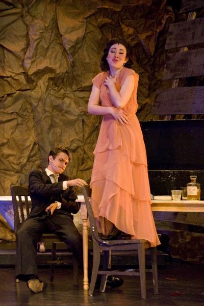 Jacob Roberts-Miller as Clyde Barrow (L) and Hannah McEvilly (R) as Bonnie Parker. Photo by John Gusky.