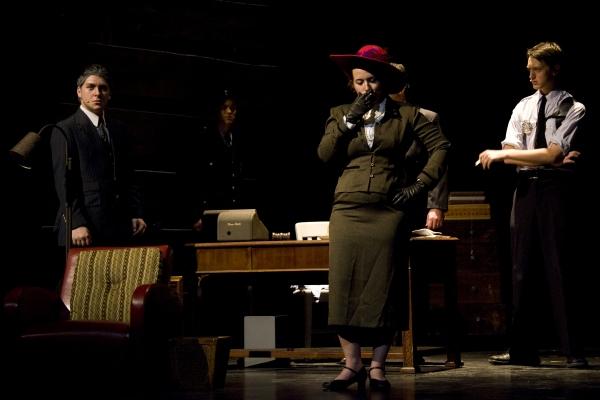 Janine Dworin as Governor Miriam Ferguson (Center) and ensemble. Photo by John Gusky.