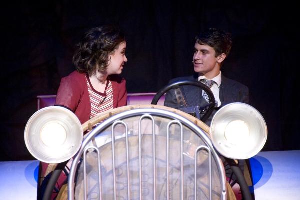 Hannah McEvilly as Bonnie Parker (L) and Jacob Roberts-Miller as Clyde Barrow (R). Photo by John Gusky.