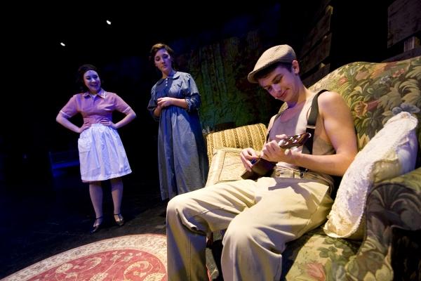 From left: Hannah McEvilly as Blanche Barrow, Loretta Adams as Emma Parker, and Jacob Roberts-Miller as Clyde Barrow. Photo by John Gusky.