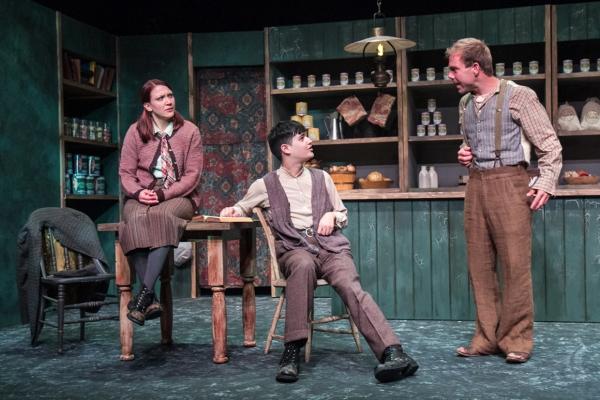 Ali Bernhardt as Helen, Joe Russo, and James Hipp as Bartley