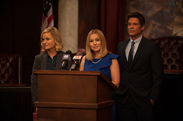 PARKS AND RECREATION -- ''The Pawnee-Eagleton Tip Off Classic'' Episode 603 -- Pictured: (l-r) Amy Poehler as Leslie Knope, Kristen Bell as Ingrid de Forest, Rob Lowe as Chris Traeger -- (Photo by: Colleen Hayes/NBC)
