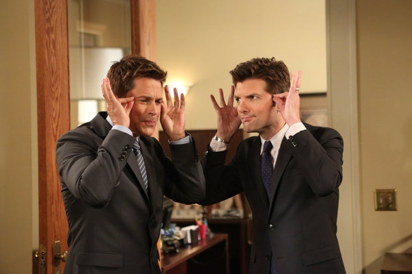 PARKS AND RECREATION -- ''The Pawnee-Eagleton Tip Off Classic'' Episode 603 -- Pictured: (l-r) Rob Lowe as Chris Traeger, Adam Scott as Ben Wyatt -- (Photo by: Danny Feld/NBC)