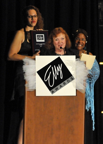 Connie Mockenhaupt of Sutter Street Theatre receives a lifetime achievement award at the 2013 Elly Awards ceremony
