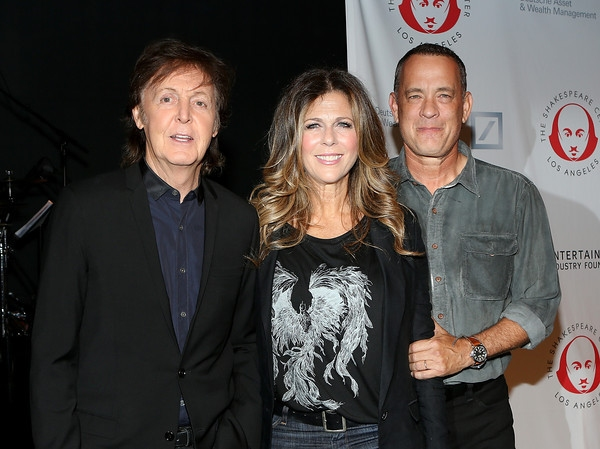 From left, recording artist Sir Paul McCartney, actress Rita Wilson and actor Tom Hanks