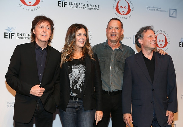 From left, recording artist Sir Paul McCartney, actress Rita Wilson, actor Tom Hanks and Ben Donenberg